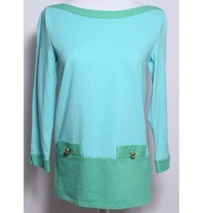 Kate Spade Womens Blouse Pocket 3/4 Sleeve Top